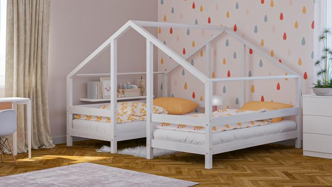 Massivholzbetten, skandinavische Betten, Kinderbett, Einzelbett, Öko-Betten, Betten im skandinavischen Stil, Hausbett, Bett in Hausform, Doppelbett, Bett für Geschwister